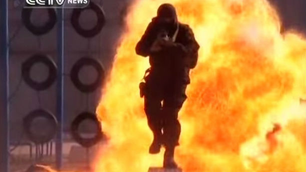 A Chinese soldier from a counter-terror unit during training (screen capture: YouTube)