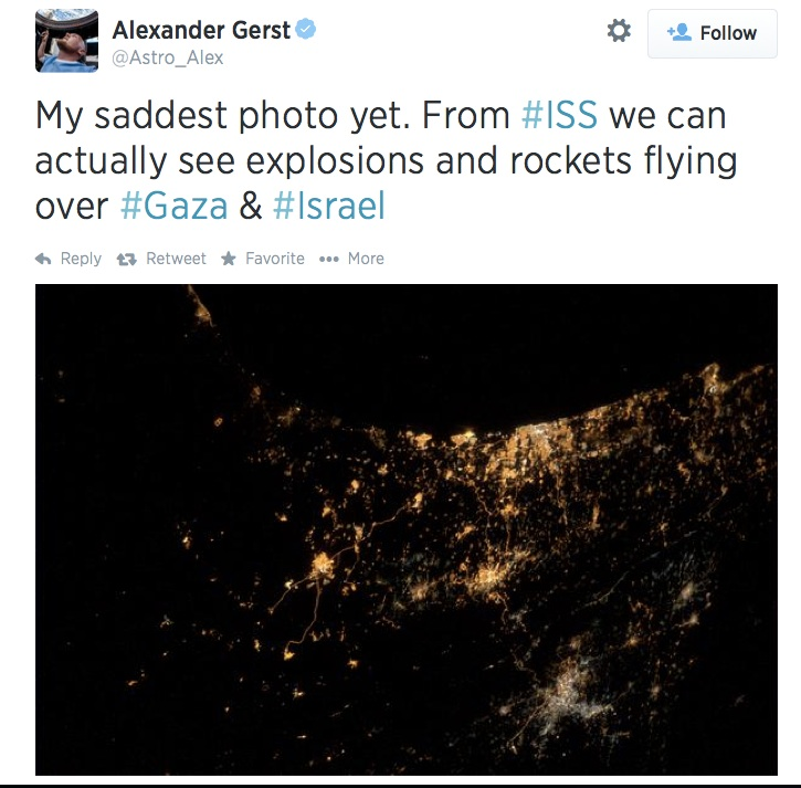 The tweet sent out from outer space by Alexander Gerst (Screenshot)