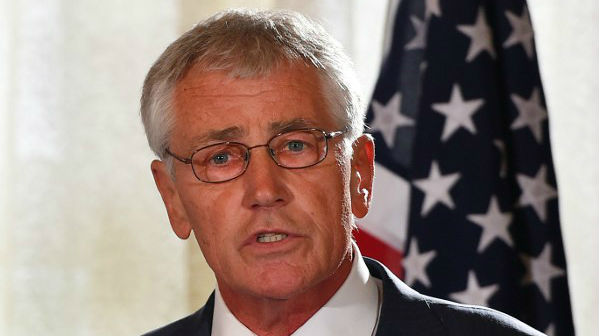 Former US secretary of defense Chuck Hagel speaks at a press conference in Sydney on August 12, 2014.  (AFP/POOL/Dan Himbrechts)