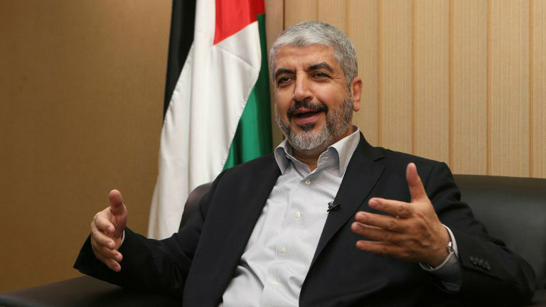 Hamas chief Khaled Mashaal answers AFP journalists' questions during an interview in the Qatari capital of Doha, on August 10, 2014. (photo credit: AFP/al-Watan Doha/Karim Jaafar)