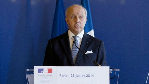 French Foreign Affairs Minister Laurent Fabius delivers a press conference, in Paris on July 28, 2014. (photo credit: AFP/KENZO TRIBOUILLARD)
