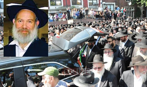 Hundreds of mourners escorted the hearse bearing the body of Rabbi Yosef Raksin  in Crown Heights. Via Chabad.org