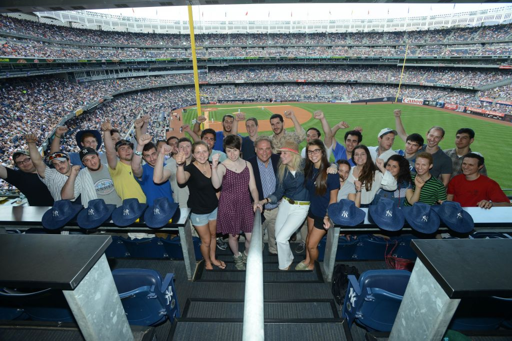 President of the NY Yankees Randy Levine with his wife and dozens of future IDF soldiers (photo credit: Courtesy)