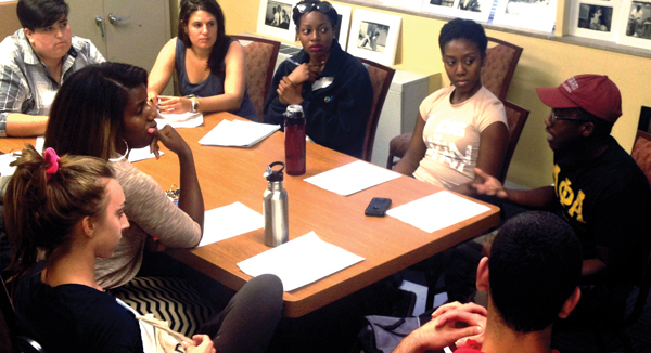 Cultural Leadership alumni, discussing ways to facilitate productive conversations about the Michael Brown shooting.