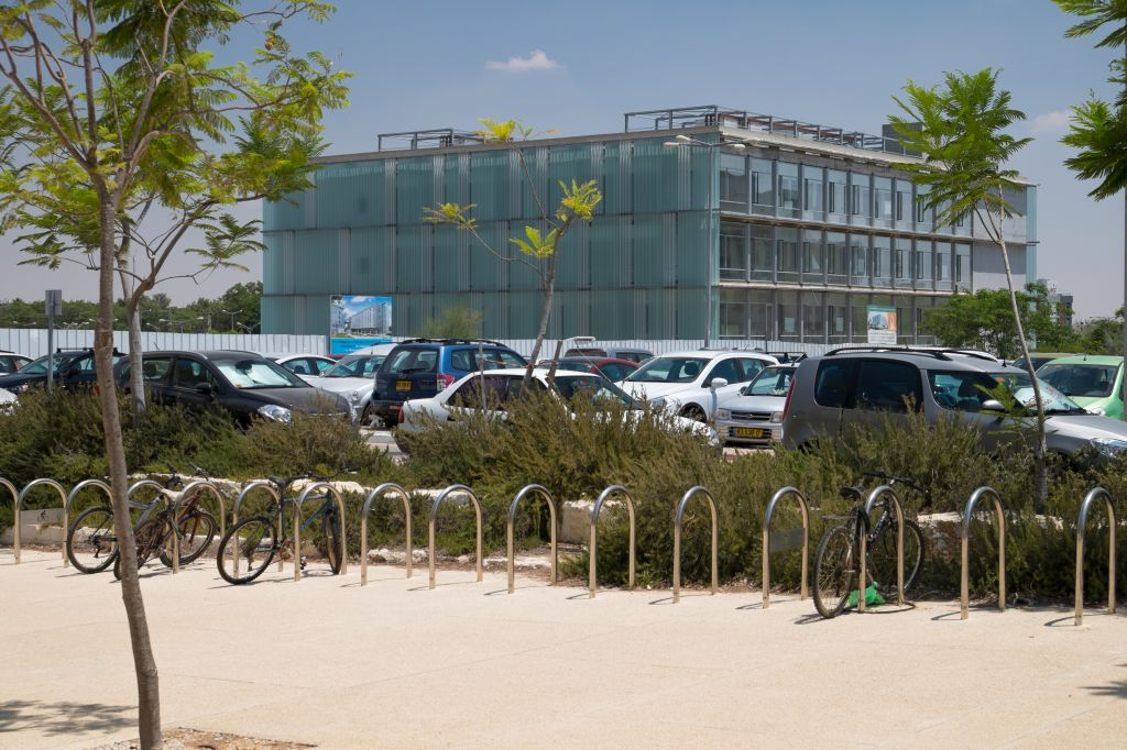Empty bike racks at the BGU campus, as students went elsewhere during the month of July (photo credit: Dani Machlis)