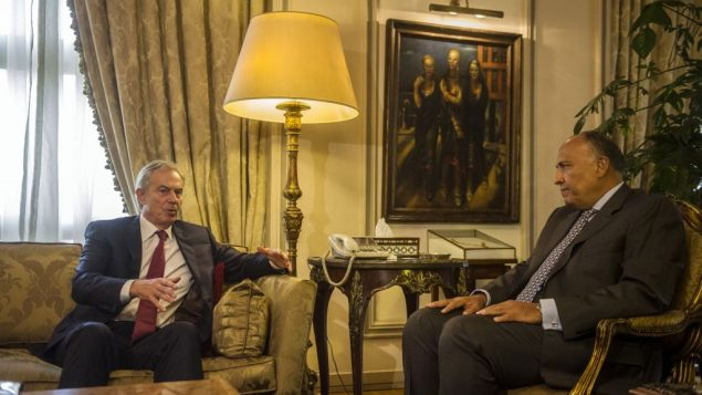 Egypt's Foreign Minister Sameh Shukri (R) meets with Mideast Quartet envoy Tony Blair (L) in Cairo. Getty Images