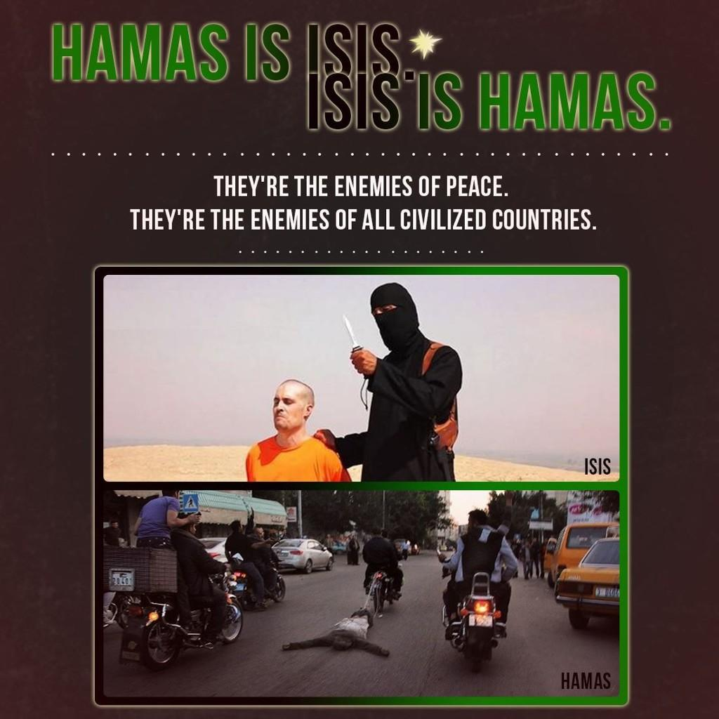 An internet meme comparing Hamas to the Islamic State movement