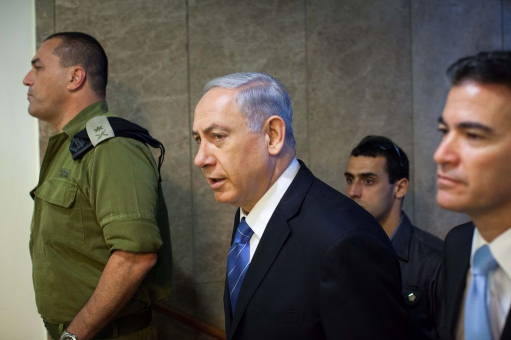 Israeli Prime Minister Benjamin Netanyahu arriving at the weekly cabinet meeting in Jerusalem, August 17, 2014. (photo credit: Emil Salman/Flash90/Pool)