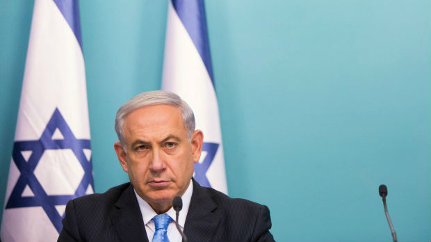 Prime Minister Benjamin Netanyahu speaks at a press conference on Operation Protective Edge at the Prime Minister office in Jerusalem on August 27, 2014. (photo credit: Yonatan Sindel/Flash90)