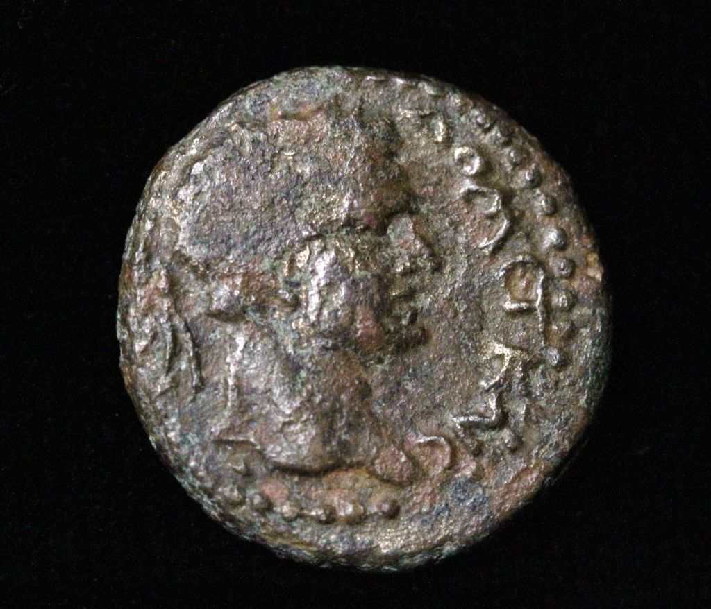 Judea Capta coin with the head of Domitian found at Bethsaida, dated to 85 CE. (photo credit: Hanan Shafir)