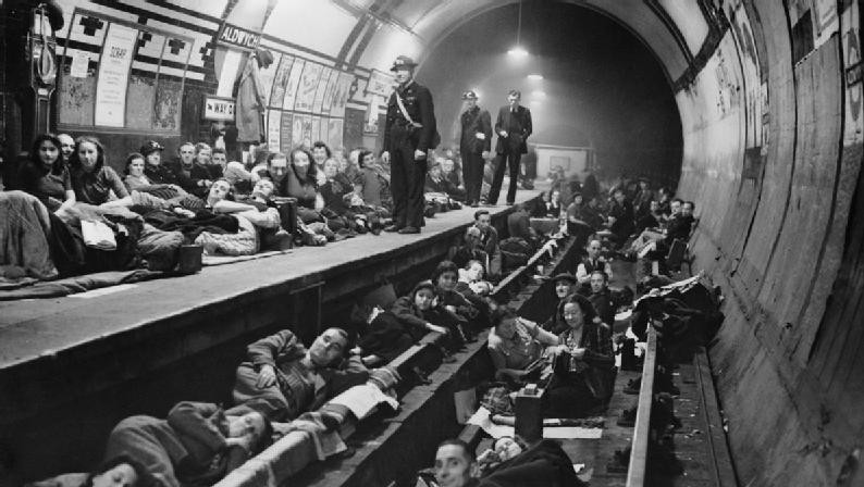 Taking shelter at London's Aldwych tube station, 1940. There were bombings almost every night during the Blitz. (photo credit: Imper