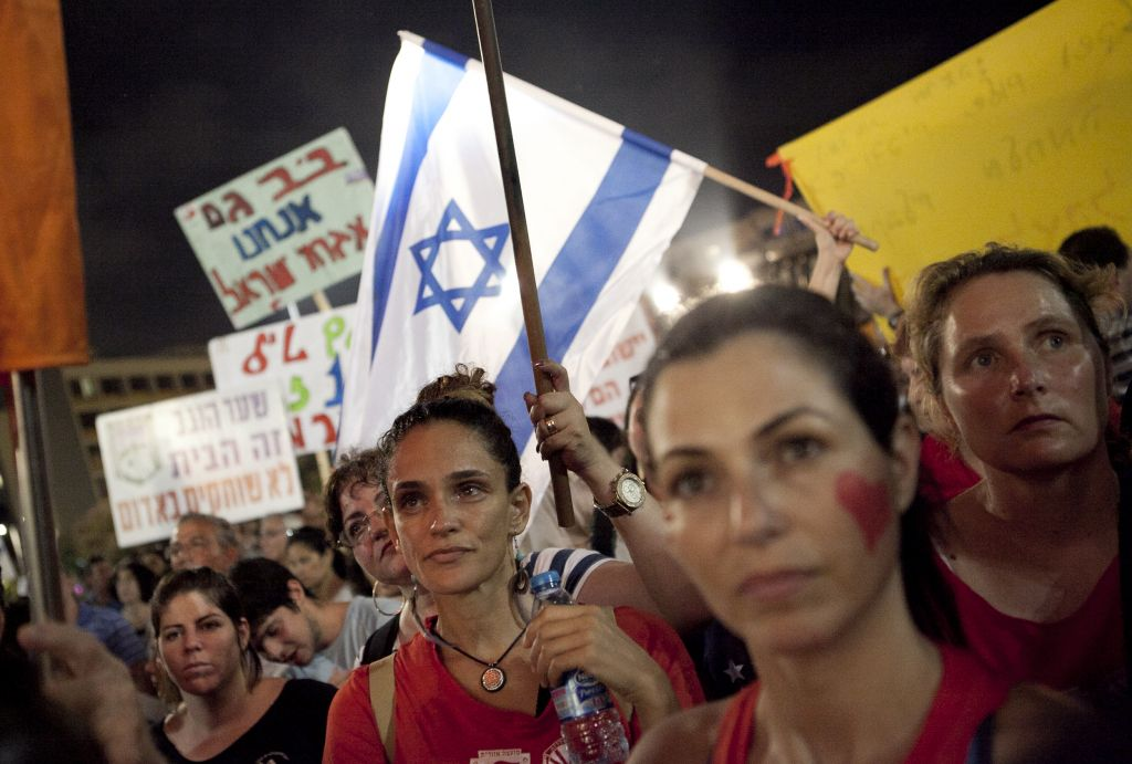 Israelis gather at Rabin Square in Tel Aviv to take part in a solidarity rally with residents of the south, demanding peace and quiet for communities on the Gaza border (photo credit: Flash90)