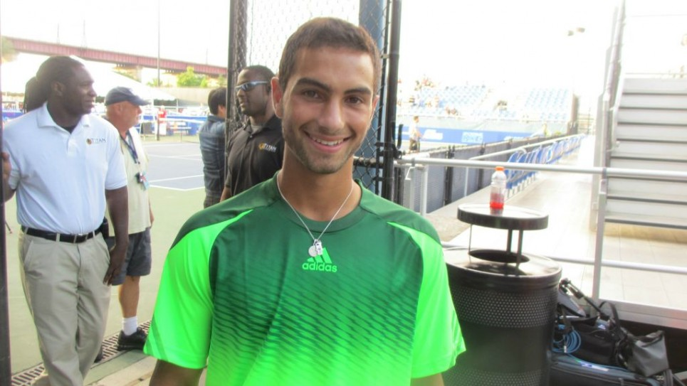 L'adolescent champion de tennis Noah Rubin - 21 Août, 2014. (Crédit : Howard Blas / The Times of Israël)
