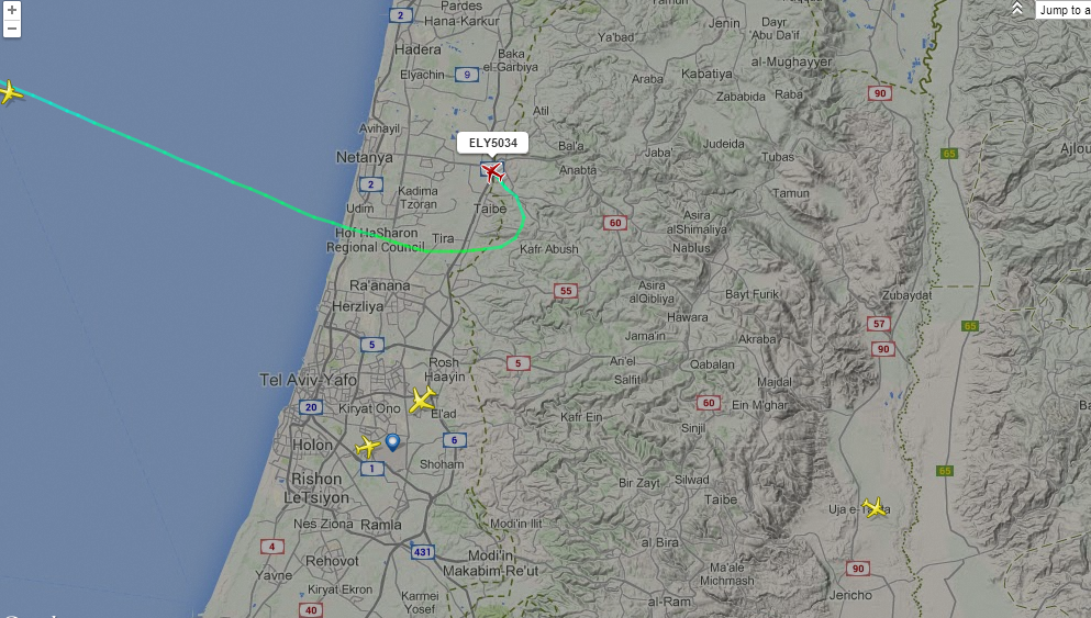 El Al flight from Rhodes to Tel Aviv calls off landing at Ben-Gurion on Monday evening sirens wail near the airport. (screen capture: FlightRadar24)