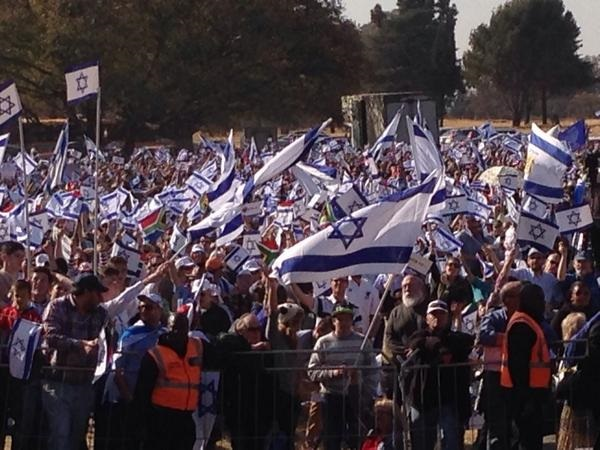 Thousands rally in Johannesburg, South Africa in support of Israel (photo credit: Courtesy)
