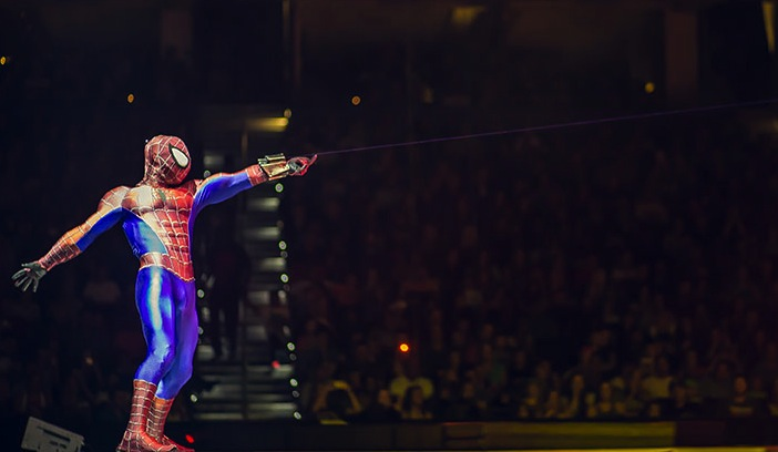 Spidey uses his webbing to yank the money out of parents' pockets as their children demand high-priced programs, snacks and stuffed toys. (Photo courtesy: Feld Entertainment)