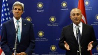 US Secretary of State John Kerry holds a joint press conference with Turkish Foreign Minister Mevlut Cavusoglu before a meeting in Ankara on September 12, 2014. (Photo credit: AFP/ADEM ALTAN)