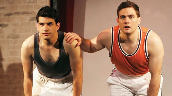 """Joshua Quat, Michael Engberg as the Jewish sprinters Marty Glickman and Sam Stoller in """"Olympics Über Alles.""""  Carol Rosegg"""