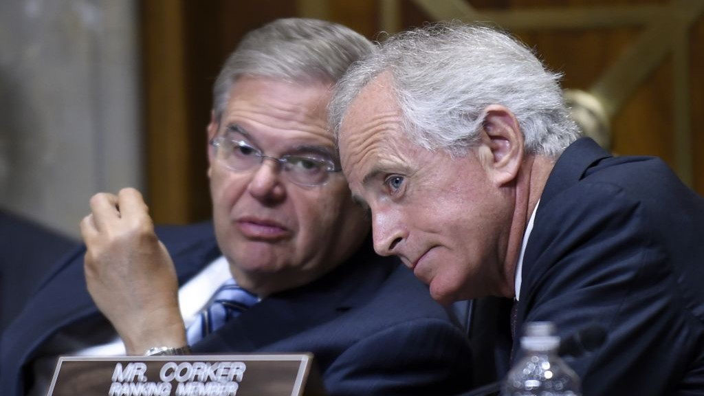 Senate Foreign Relations Committee Chairman Sen. Robert Menendez, left, D-NJ, talks with ranking member Sen. Bob Corker, R-Tenn., on Capitol Hill in Washington, on July 29, 2014. (photo credit: AP Photo/Susan Walsh, File)