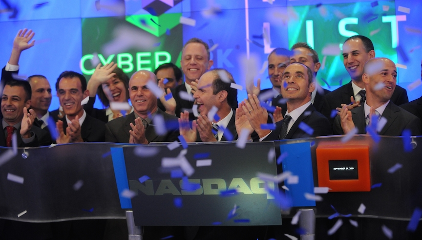 CyberArk staff and Nasdaq officials celebrate the company's IPO (Photo credit: Courtesy)