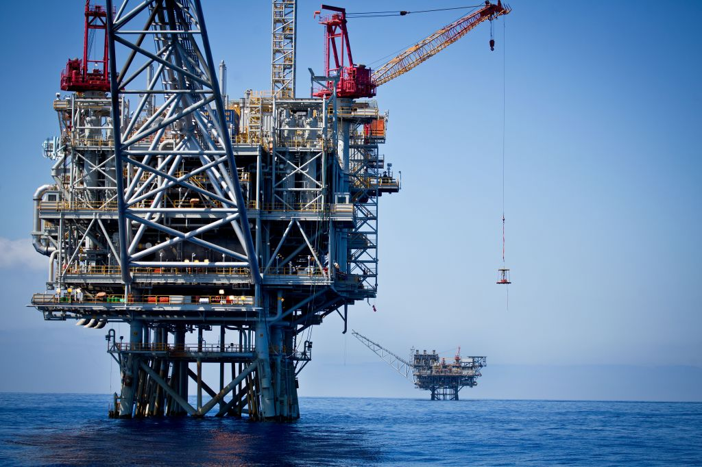 Gas rigs in the Tamar field, off the coast of Israel, in June. (photo credit: Moshe Shai/FLASH90)