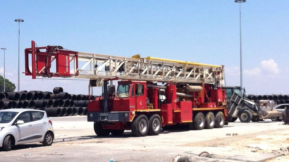 The Amerian-made drill that will be used for exploratory drilling is currently in storage in Haifa. (Courtesy: Afek)
