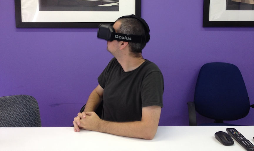 Yitzchak Wolkowicz wearing a GearVR headset (Photo credit: Courtesy)
