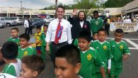 State Sen. David Carlucci, Aron Wieder and E. Ramapo soccer players at the Haitian Unity Parade in May. Courtesy of Aron Wieder