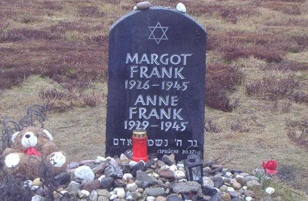 Symbolic grave for Anne and Margot Frank at Bergen-Belsen, where the sisters perished in March of 1945 (photo credit: public domain)