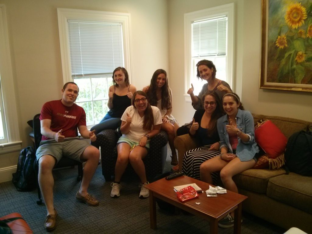 Israel Fellow reservist Shani Knaani with her Israel engagement team at Elon University in North Carolina. (courtesy)
