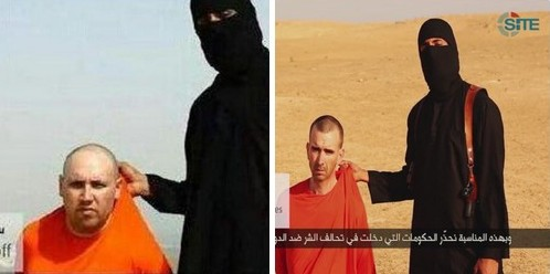 Screenshots from videos posted online by jihadist extremist group Islamic State showing US journalist Steven Sotloff (left) who is said to have been executed in a video uploaded September 2, 2014. The group has threatened to behead UK national David Cawthorne Haines if its demands are not met.