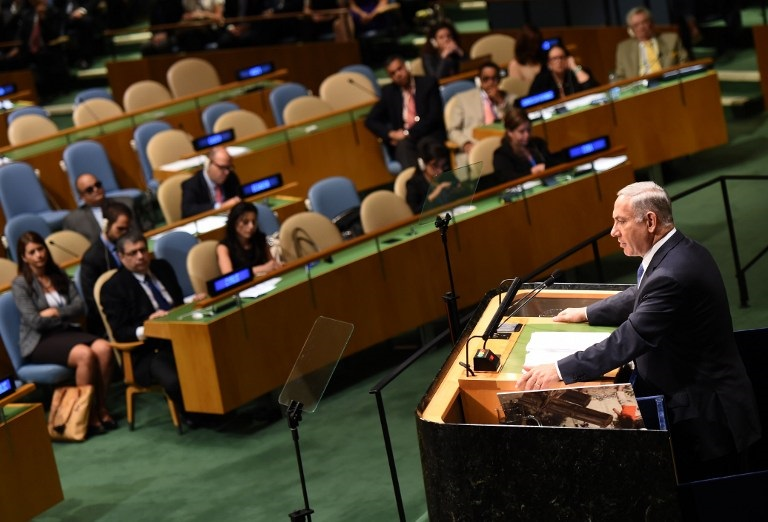 Prime Minister Benjamin Netanyahu addresses the 69th session of the United Nations General Assembly September 29, 2014 at the United Nations in New York. (photo credit: AFP PHOTO/Don Emmert)