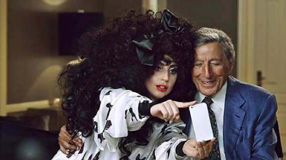 Lady Gaga and her bestie, crooner Tony Bennett, taking a selfie, August 28, 2014. (photo credit: Courtesy Lady Gaga Facebook page)