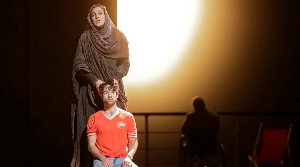 In this image released by the Metropolitan Opera, Maya Lahyani as the Palestinian Woman, standing, and Jesse Kovarsky as Omar, perform in 'The Death of Klinghoffer,' at the Metropolitan Opera in New York. (photo credit: AP/Metropolitan Opera, Ken Howard)