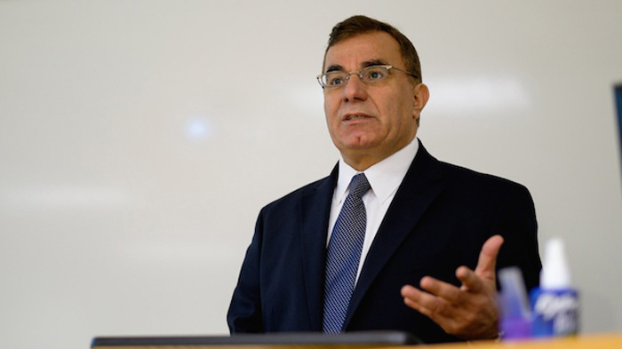 Nabil Abuznaid, the Palestinian Authority's ambassador to the Netherlands, speaking at James Madison University in Virginia, Oct. 6, 2014. (Courtesy James Madison University/JTA)