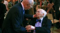 Then Israeli President Shimon Peres, left, greets Ralph Goldman at a celebration of the former JDC leader's 100th birthday.
