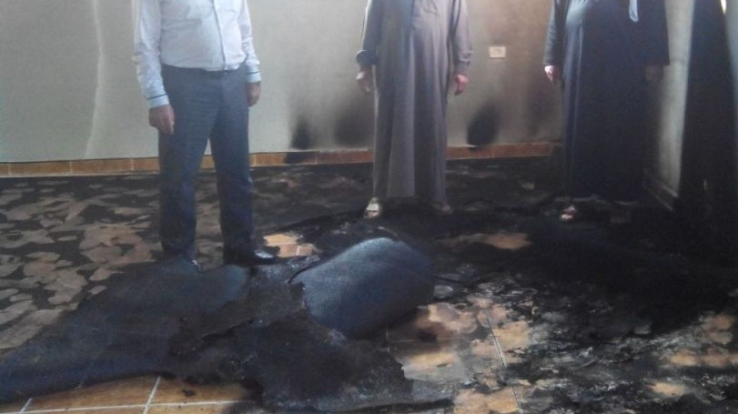Damage to a West Bank mosque, near Nablus, on October 14, 2014. (photo credit: courtesy Rabbis for Human Rights)