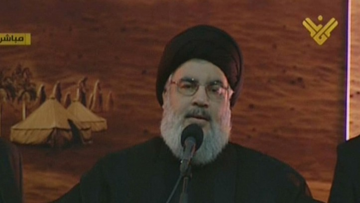 An image grab from Hezbollah's al-Manar TV shows Hassan Nasrallah giving a speech in a rare public appearance, Beirut, November 3, 2014. (photo credit: AFP/al-Manar)