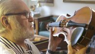 """Joseph Feingold and his violin, which has """"some story."""" Courtesy of WQXR"""