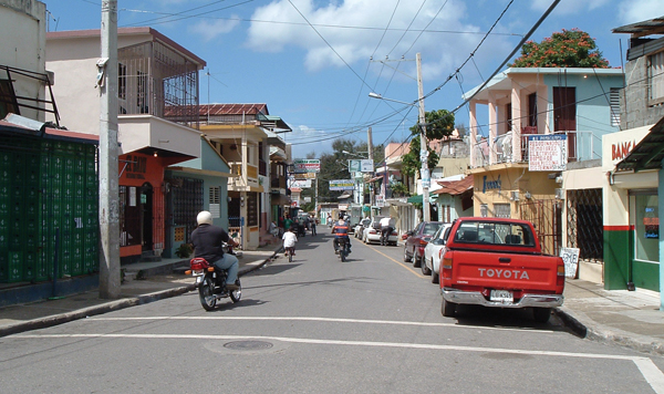 A typical street scene in Sosúa. Wikimedia Commons