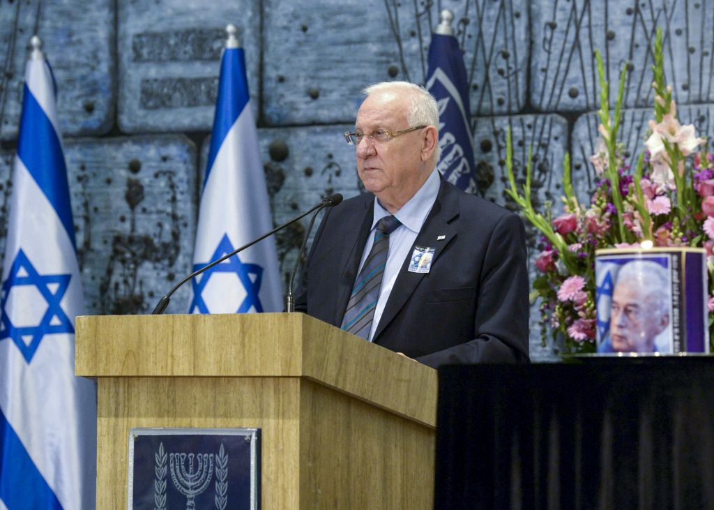 Israeli president Reuven Rivlin speaks at a memorial ceremony to commemorate 19 years since the assasination of former Israeli Prime Minister Yitzhak Rabin, at the president's house in Jerusalem on November 04, 2014. (Photo credit: Mark Neyman/GPO/FLASH90)