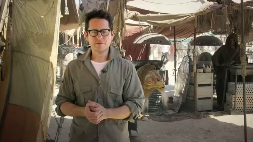 Jewish-American filmmaker J.J. Abrams on the set of Star Wars: Episode VII - The Force Awakens in May 2014. (screen capture: YouTube/Star Wars)