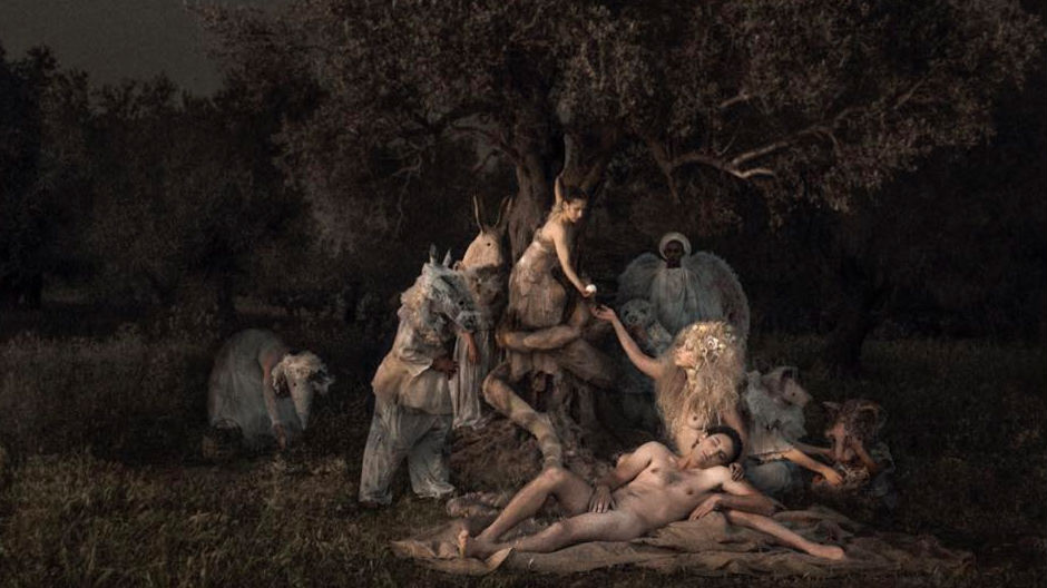 """""""Eve was the first woman mentioned in the Bible, created from one of Adam's ribs to be Adam's companion. The serpent (here in the form of Lilith) convinced Eve to taste the fruit of the forbidden tree."""" (Courtesy Michal Baratz Koren)"""