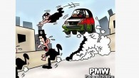 A screenshot from a cartoon published on the Facebook page of the Fatah movement depicting three Jews fleeing as a car driven by a Palestinian tries to run them over.