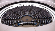 Members of the EU Parliament take part in a voting session, on December 17, 2014 during a session of the European Parliament in Strasbourg, eastern France. (photo credit: AFP/FREDERICK FLORIN)