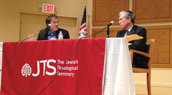 Moshe Halbertal, left, and JTS Chancellor Arnold Eisen at recent event.  Courtesy of JTS