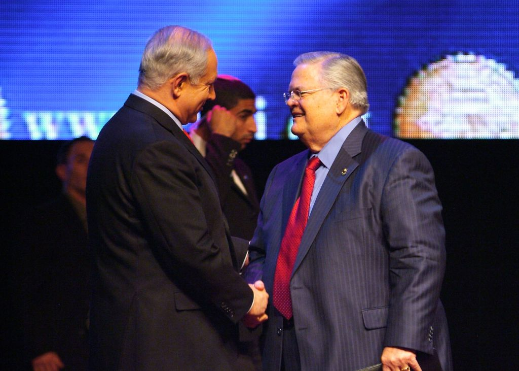 Pastor John Hagee of Christians United for Israel (CUFI), right, meets with Prime Minister Benjamin Netanyahu in Jerusalem in 2010. (Courtesy)
