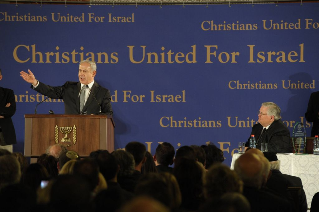 Prime Minister Benjamin Netanyahu speaks at the Evangelical Christian movement and a mission of approximately 800 members of Pastor John Hagee's Christians United for Israel (CUFI) organization, in Jerusalem on Sunday night MArch 18 2012. (Amos Ben Gershom/Flash90)