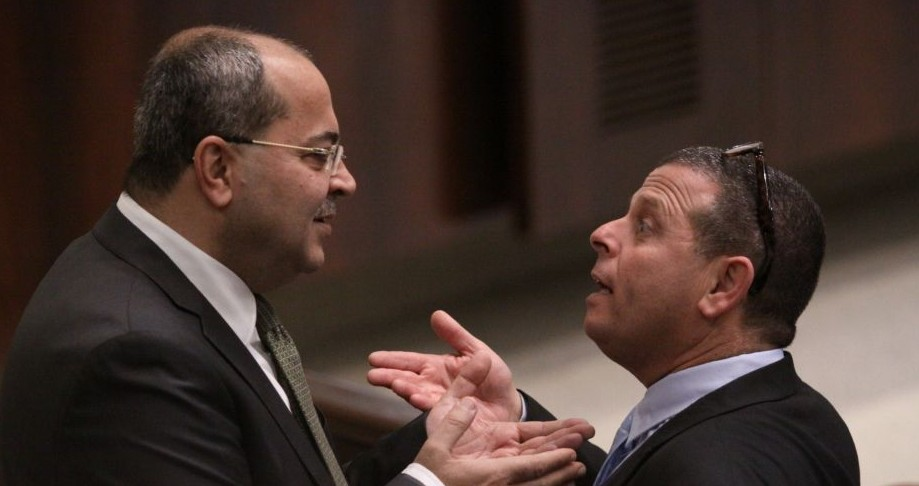 MK Ahmad Tibi of the Ra'am Ta'al party (L) and Labor MK Eitan Cabel at the Knesset on December 3, 2014 (photo credit: Courtesy)
