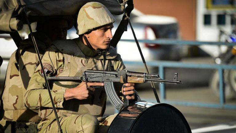 Illustrative photo of an Egyptian member of the armed forces in northern Sinai. (AFP/Mohamed el-Shahed)